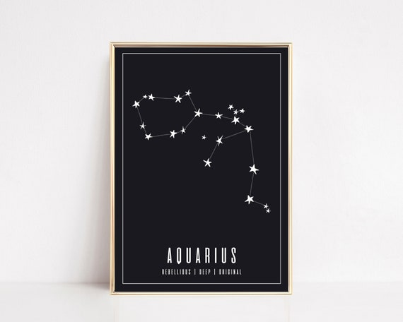 aquarius wall art | aquarius zodiac print | astrology gifts | aquarius art | zodiac wall art | zodiac printable | zodiac gift | download now