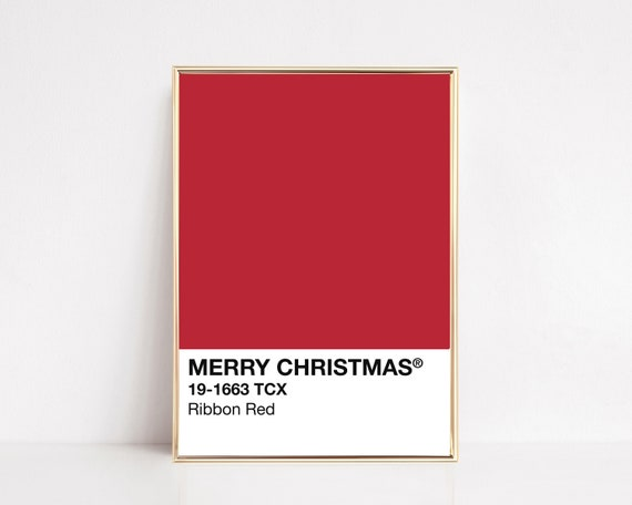 pantone red ribbon print | christmas decor | modern holiday | red pantone poster | christmas wall art | pantone art | digital download