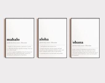 hawaiian wall art | set of 3 prints | aloha | ohana | mahalo |  definition prints | inspirational art | minimalist decor | digital download