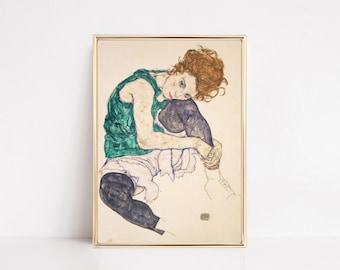 egon schiele seated woman   eclectic wall art   vintage art print   fine art print   antique art   vintage print   digital download