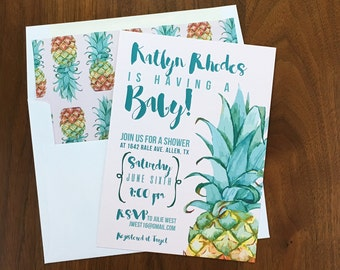pineapple baby shower invitations tropical baby shower etsy