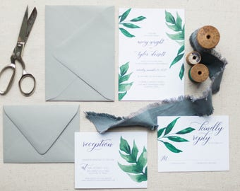 Botanic Wedding Invitation Set, Greenery and Grey Wedding Invitations, Emerald Wedding Invitations, Branch Invitations, Garden Wedding