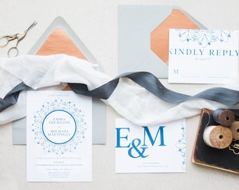 Rustic Wedding Invitations, Wedding Invitation Suite, Wedding Invitation Set, Modern Wedding Invitation Suite, Navy Wedding Invitations