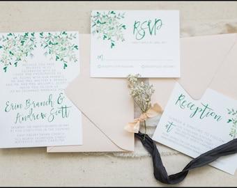 Greenery Wedding Invitation Set, Botanic Wedding Invitations, Wedding Invitations Suite, Greenery and Blush Wedding Invitation Suite, Garden