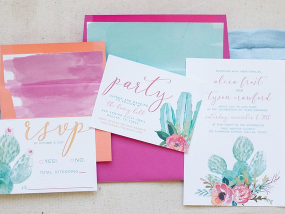 Cactus Wedding Invitations Watercolor Wedding Suite Colorful Etsy