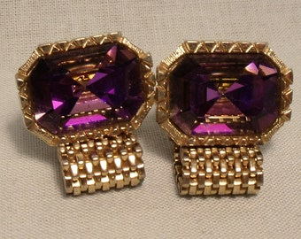 Vintage Purple Large Stone Cuff Links
