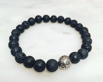 "8mm Black Lava Rock with ""Luck"" Charm Bead - Custom Fit Bracelet"
