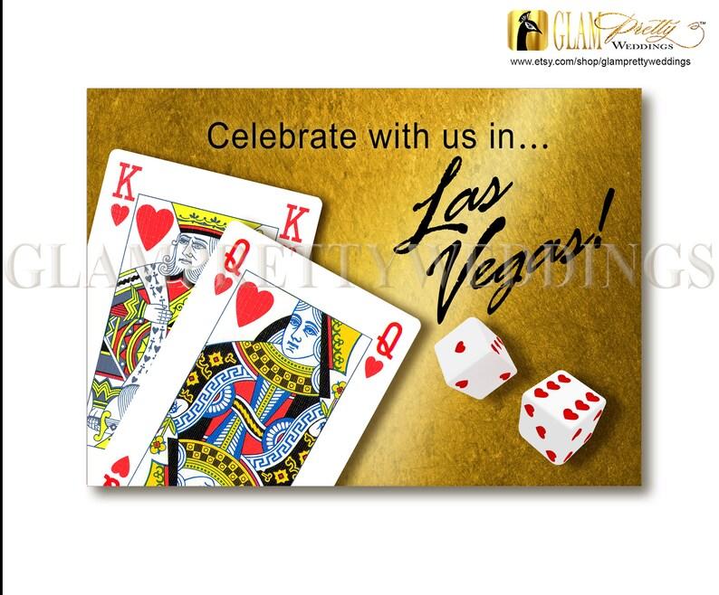 PRINTABLE Casino destination wedding hearts dice Style Name: ARIA Las Vegas Wedding celebration invitation