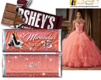 Sweet 15 Quinceañera Peach Coral Silver Candy Wrapper 15th Birthday Bling Glitter Diamante Fiesta de Quince Años - Style Name: FAUN