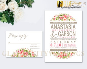 Pink Flowers Wedding Invitaton & RSVP Floral Bouquet Outdoor Country Garden Flowers Summer Spring Rustic  - PRINTABLE File - Style Name: ANA