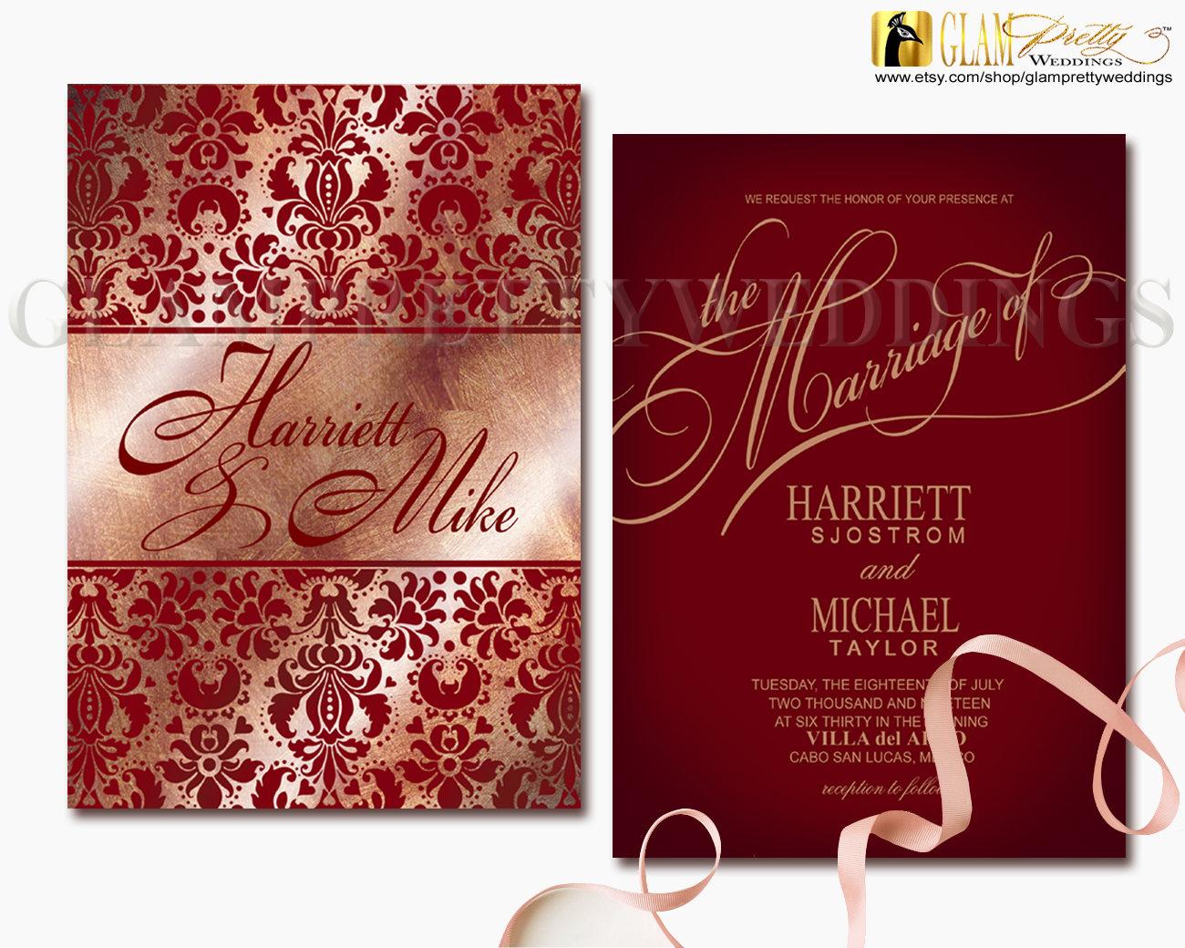 Rose Gold Burgundy Glitter Lacy Damask Wedding Invitation | Etsy