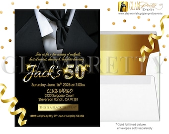 Black and Gold 50th Birthday Elegant Tuxedo Invite - Men's Any Age Black Tie Bling Party Invitation - Printable or Printed - Style: JACK