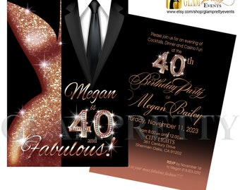 Rose Gold Glitter Black Suit and Tie Glam 40 and Fabulous Birthday Formal Party Invite - PRINTABLE - Style Name: LESLIE