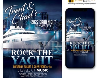 Rock the Yacht Night Time Birthday Boat Party Invite - Ocean Lake Cruise City Lights -  PRINTABLE & Text-Ready Digital - Style Name: TRENT