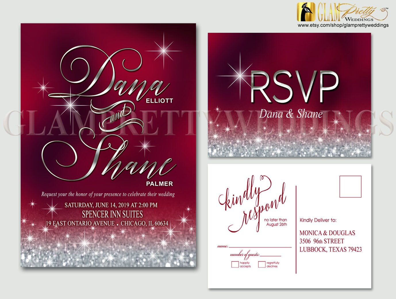 Red Burgundy Silver Diamond Dust Glitter Wedding Invitation &   Etsy