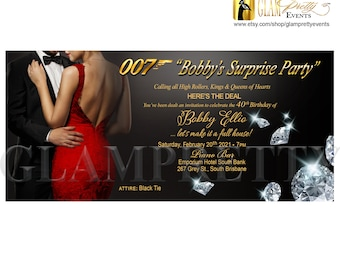 Casino Royale 007 Secret Agent Red Black Gold Las Vegas Theme Surprise Birthday Invitation - PRINTABLE - Style Name: 007 DIAMONDS