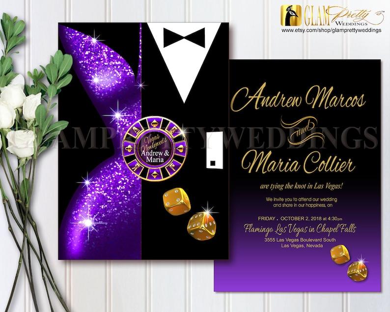 LESLIE Purple Gold Las Vegas Wedding Invitation Swanky Chic Black Tie Couple Purple Cocktail Dress Style Name Printable or Printed