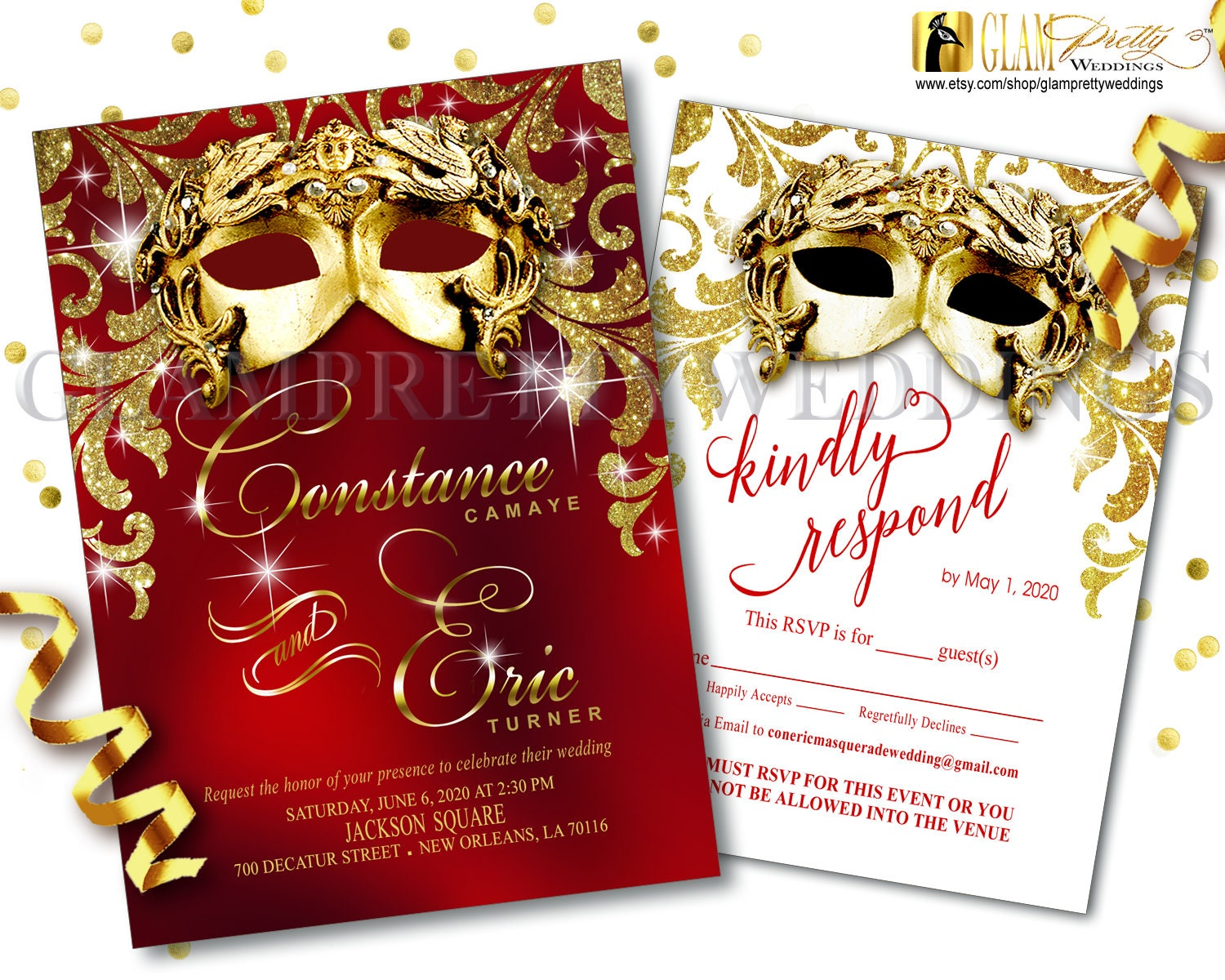 Red & Gold Masquerade Wedding Invitation/rsvp card Glam Glitz | Etsy