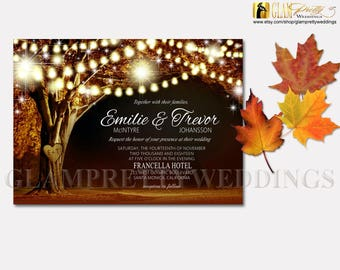 Golden Leaves Autumn Wedding Invitation Rustic String Lights Oak Tree Names Carved in Tree - PRINTABLE File - Style Name: VIVIAN