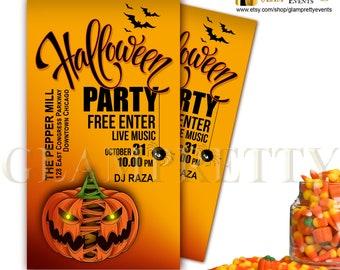 Halloween Party Invitation Orange & Black Jack-o-Lantern Pumpkin Party Invitation - PRINTABLE digital - Style Name: HALLOWEEN