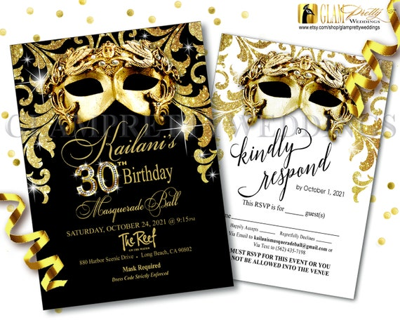 Masquerade 30th Birthday Black Gold Glitter Invite Rsvp