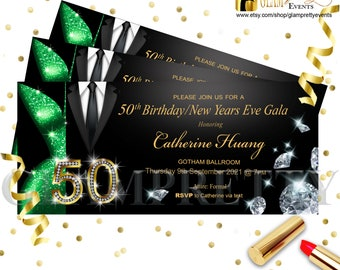 Emerald Green and Gold Glitter Black Suit and Tie with Diamonds - Glam 50th Birthday Formal Party Invite - PRINTABLE - Style Name: LESLIE