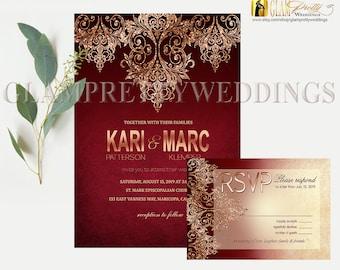 Burgundy Marsala Rose Gold Glitter Wedding Invitation & RSVP card - Gatsby Style Art Deco Glam Glitter Faux Foil - PRINTABLE - Style: HEIDI
