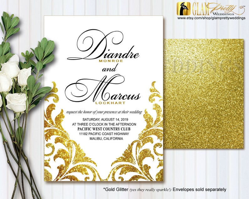Style Name JILL Printable or Printed White and Gold Glitter Wedding Invitation /& rsvp card