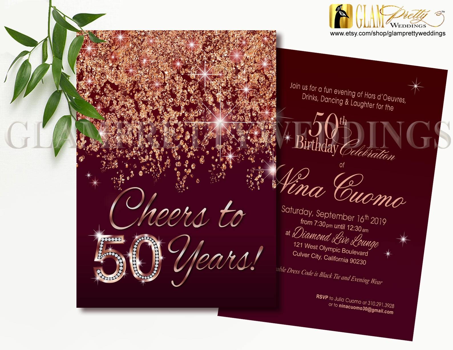 Cheers to 50 Years Marsala Rose Gold Glitter Birthday | Etsy
