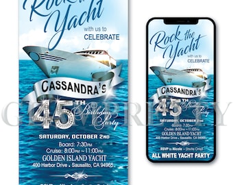 Rock the Yacht Day Time Birthday Boat Party Invitation - Ocean Cruise All White Party -  PRINTABLE & Text-Ready Digital - Style Name: BRAD