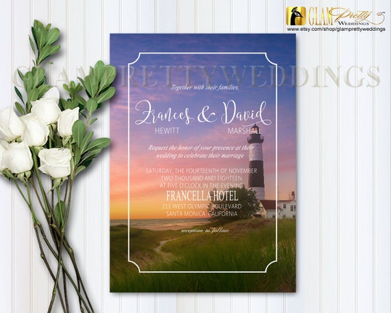 Sunrise Wedding Invitations: Lighthouse Wedding Invitation Oceanside At Sunset Sunrise