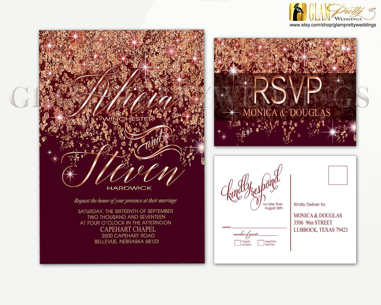 Marsala Rose Gold Glitter Wedding Invitation & RSVP postcard | Etsy
