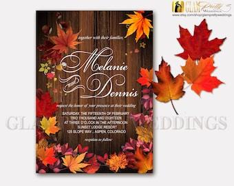 Autumn Leaves Rustic Wedding Invitation barn wood orange red gold - PRINTABLE File - Style Name: VERA