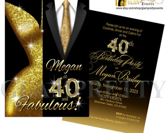 40 and Fabulous Birthday Gold Glitter Black Suit and Gold Tie Glam Party Invite - PRINTABLE - Style Name: LESLIE