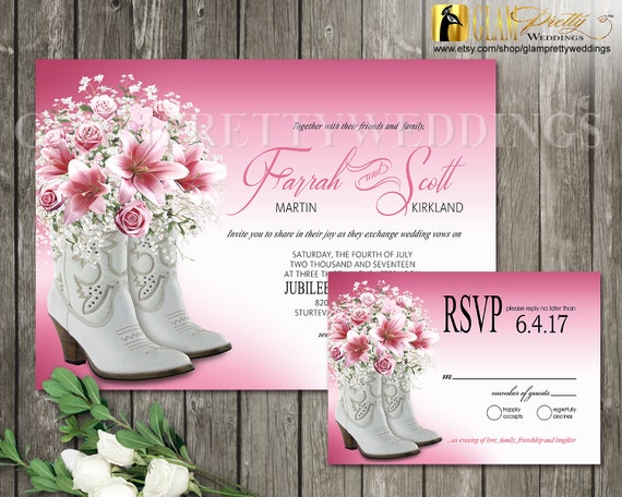 Boots Wedding Invitations: Pink Flowers Cowboy Boots Wedding Invitation & RSVP Card