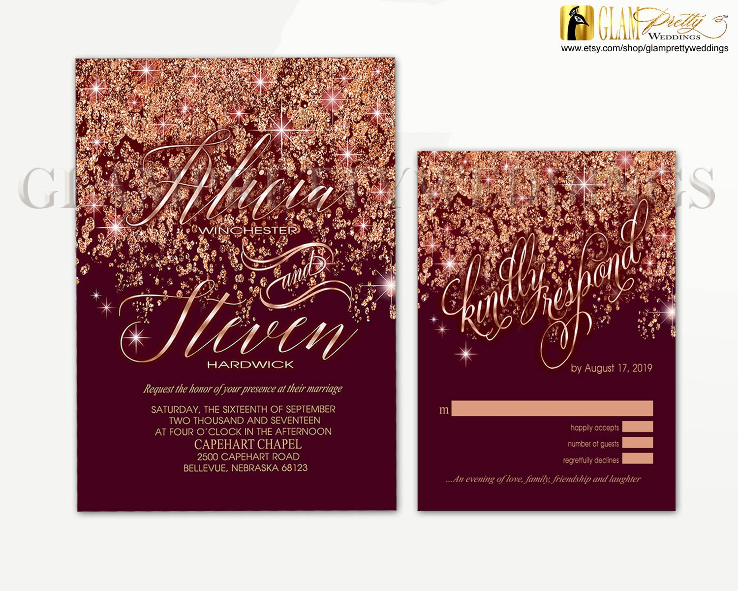 Marsala Rose Gold Glitter Wedding Invitation & RSVP card | Etsy