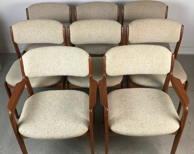 Mid Century Modern Set of 8 TEAK BENNY LINDEN Dining Chairs