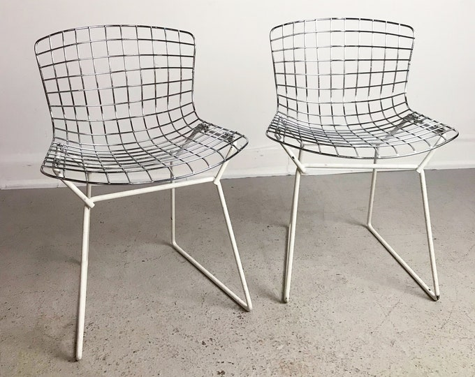 Pair of mid century modern HARRY BERTOIA chrome childs chairs by KNOLL