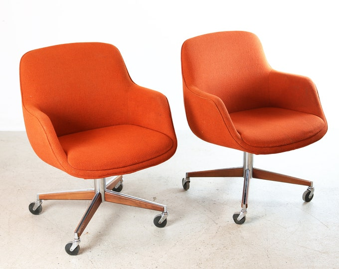 1970's ORANGE UPHOLSTERED Office Chairs by STEELCASE