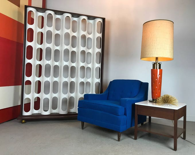 Mid Century Modern Custom Bone Screen Style Rolling Room Divider
