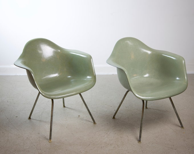 Mid Century Modern Seafoam Green EAMES for HERMAN MILLER Lounge Shell Chairs