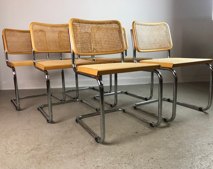 Mid Century Modern Set of 6 Italian MARCEL BREUER CESCA Chrome and Cane Dining Chairs