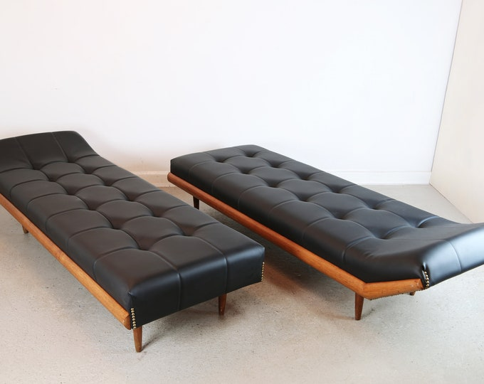 Pair of Black Leather ADRIAN PEARSALL CHAISE Lounge/Day Beds
