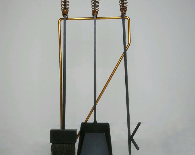 Mid-Century Modern GEORGE NELSON Attributed Fire Tools With COPPER Handles Wrought Iron