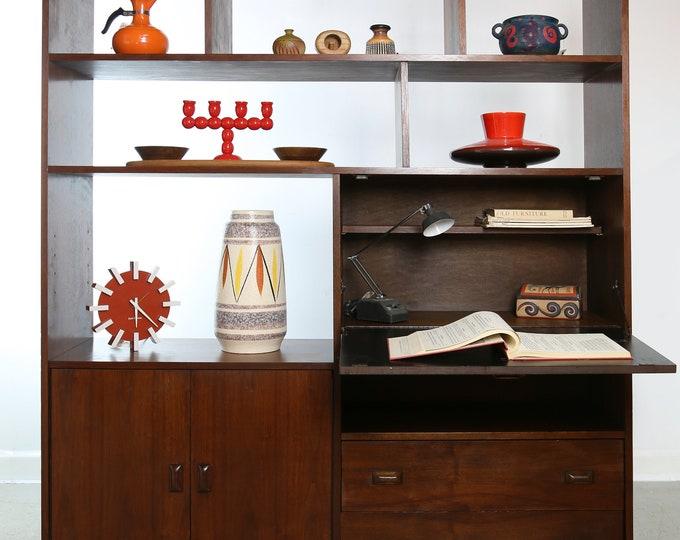 MID CENTURY WALNUT wall unit / bookcase / room divider