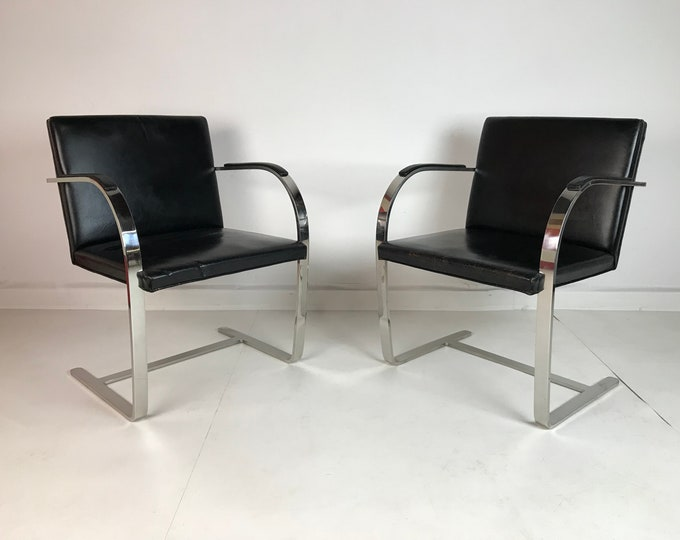 Mid Century Modern Pair of KNOLL Mies Van Der Rohe BRNO Chrome ARMCHAIRS