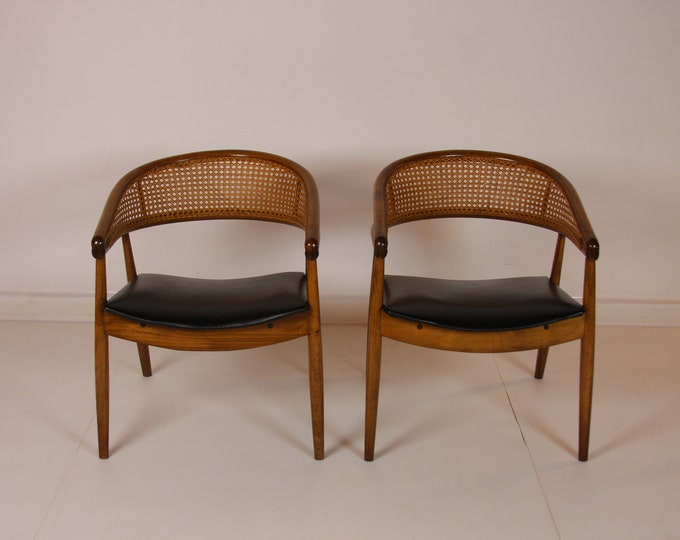 Mid Century Modern Pair of JAMES MONT CANED Barrel Back Chairs