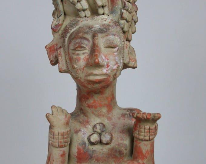 Tribal TERRA-COTTA ART Hand Sculpted Statue Mid Century Modern