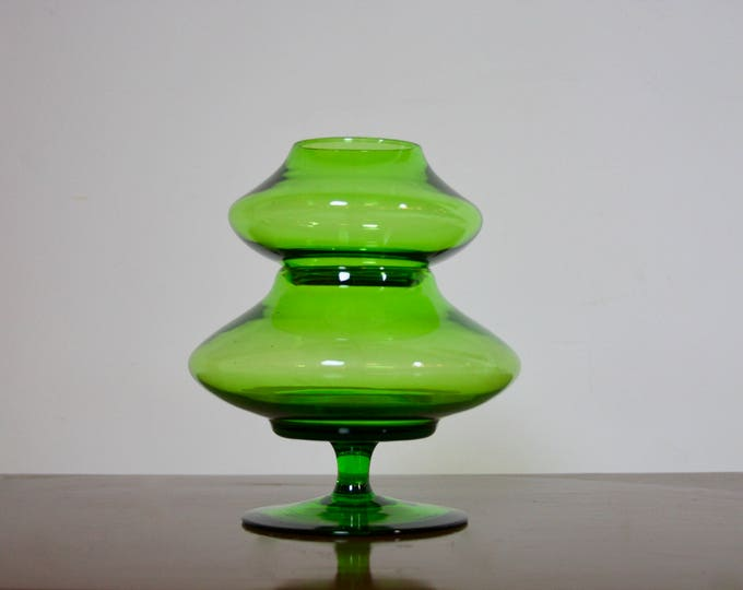 Unique GREEN BLENKO GLASS Candy Dish Two Tier Mid Century Modern