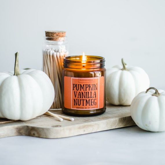 Cozy Fall PUMPKIN VANILLA NUTMEG Hand Poured Scented Soy
